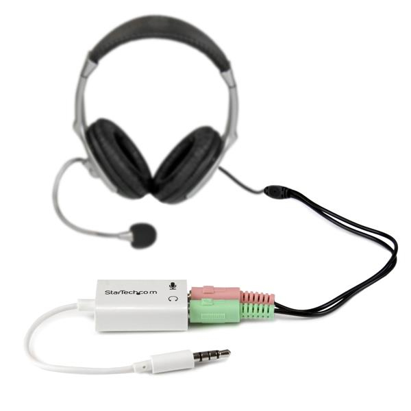 StarTech.com White headset adapter for headsets with separate headphone / microphone plugs - 3.5mm 4 position to 2x 3 position 3.5mm M/F