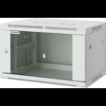 """Intellinet 19"""" Wallmount Cabinet, 6U, 370 (h) x 600 (w) x 450 (d) mm, Max 60kg, Assembled, Grey"""