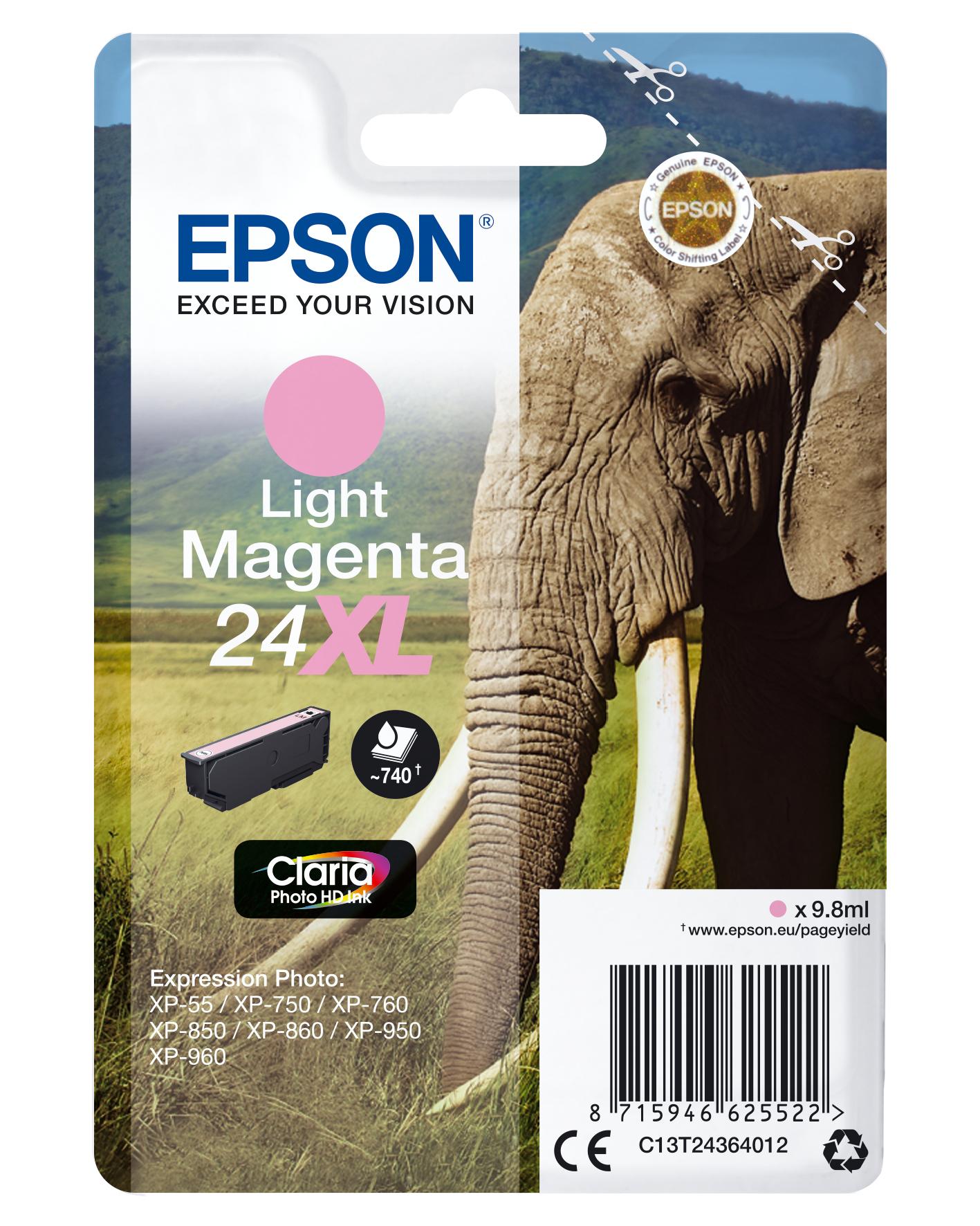 Epson Elephant Cartucho 24XL magenta claro