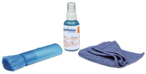 Manhattan LCD Mini Cleaning Kit, Alcohol-free, Includes Cleaning Solution, Brush, Microfibre Cloth and Carrying Bag