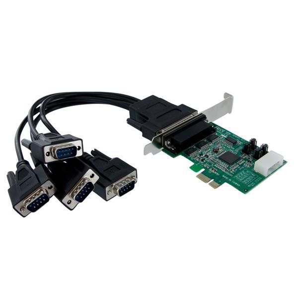 StarTech.com Tarjeta Adaptadora PCI Express PCIe 4 Puertos Serie Cable Multiconector RS232 16950 Serial