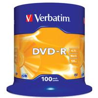 DVD-r Media 4.7GB 16x Matt Silver 100-pk With Spindle