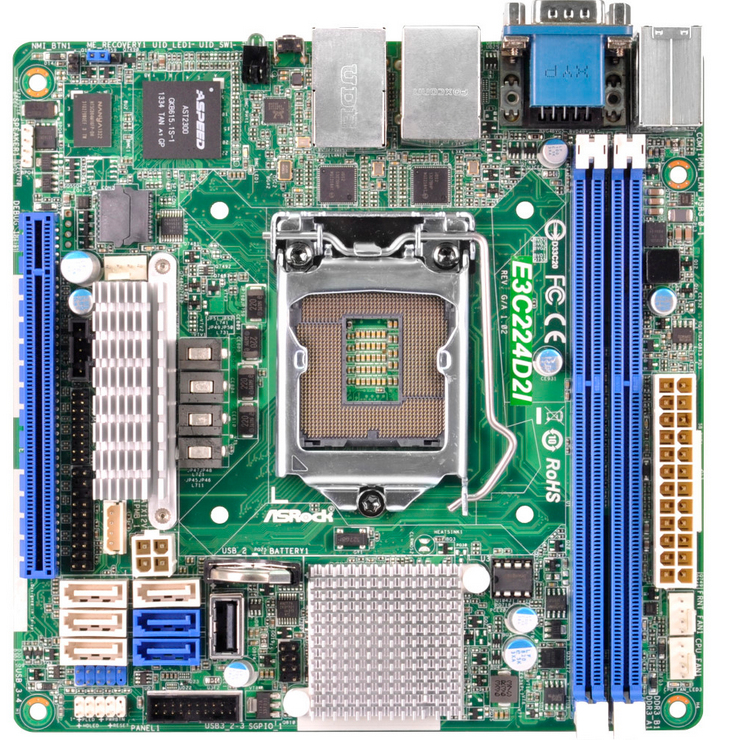 Asrock E3C224D2I Intel C224 Socket H3 (LGA 1150) Mini ITX server/workstation motherboard