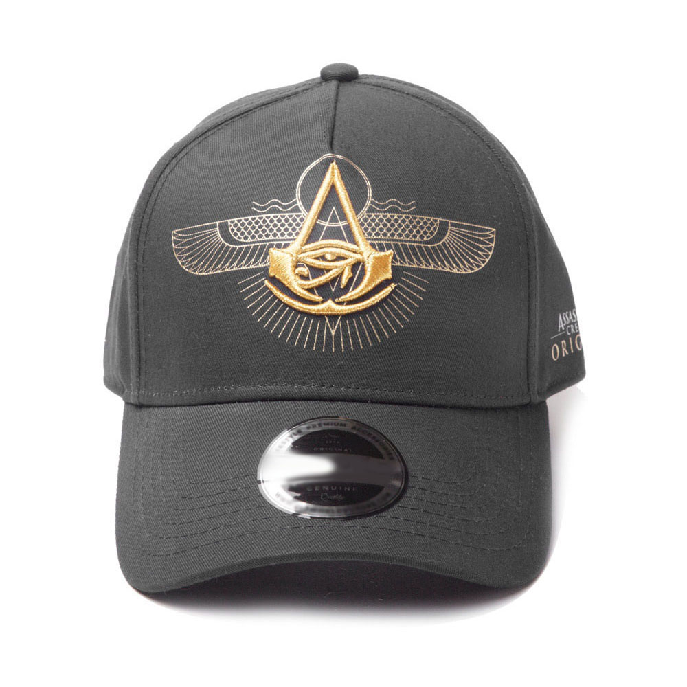 ASSASSIN'S CREED Origins Embroidered Crest Logo Curved Bill Baseball Cap, Black (BA902903ACE)