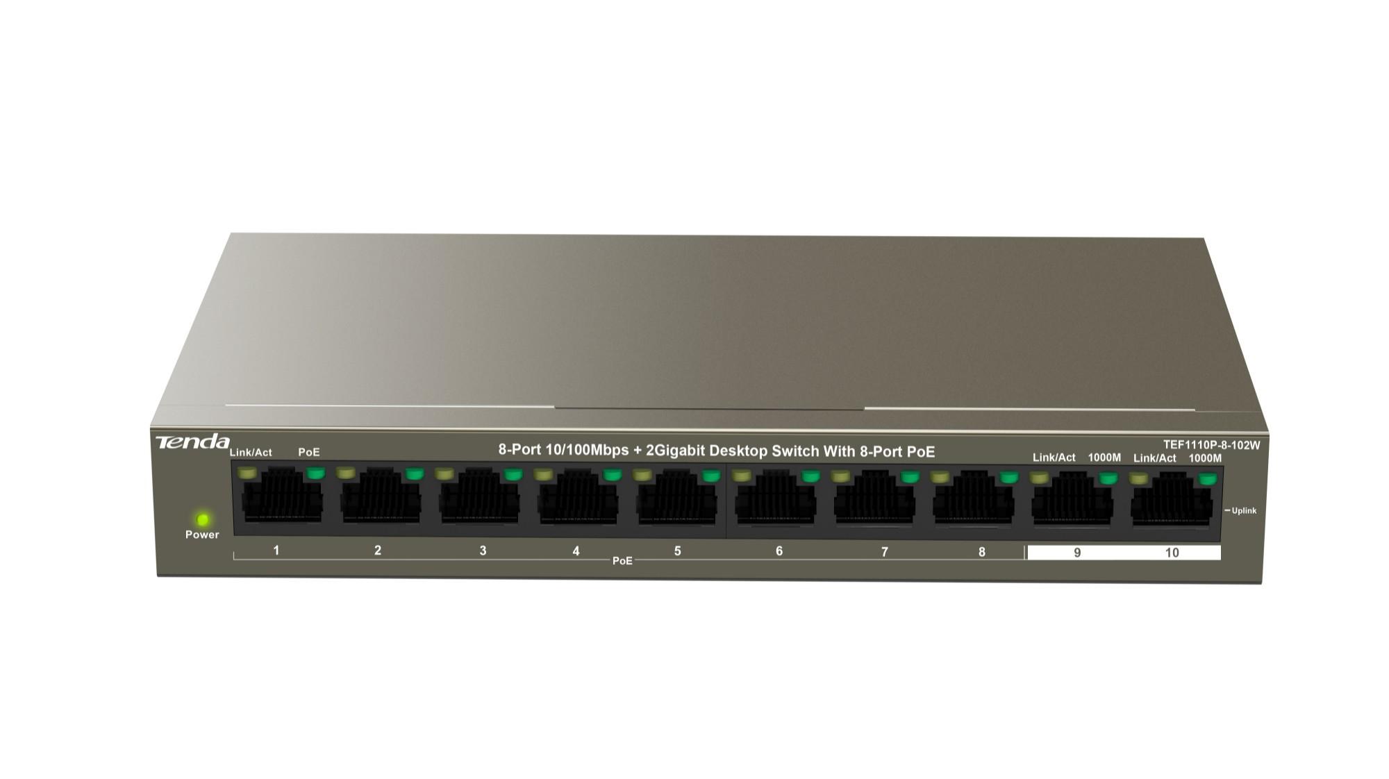 Tenda TEF1110P-8-102W switch Fast Ethernet (10/100) Gris Energía sobre Ethernet (PoE)