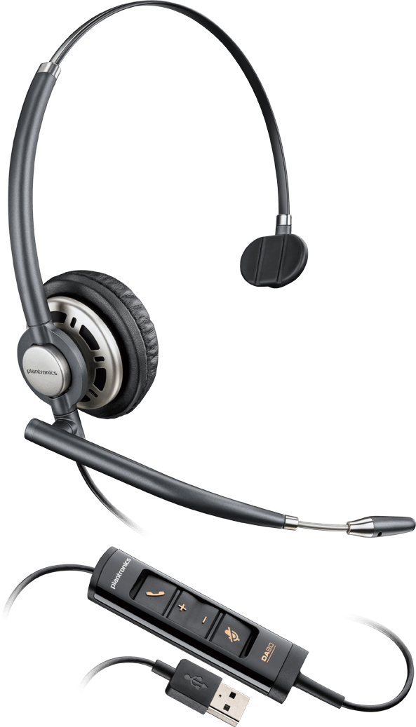 Plantronics Encorepro HW715 USB Monaural Head-band Black,Silver headset