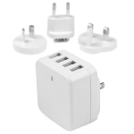 StarTech.com 4-Port USB Wall Charger - International Travel - 34W/6.8A - White