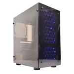 CRONUS V4 Micro Tower 1 x USB 3.0 / 2 x USB 2.0 Acrylic Side & Front Window Panel Black Case with 3 x Blue