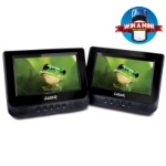 "LASER DVD Player Dual In Car 7"" with Bonus Pack (headrest mounts and earphones)"