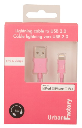 Urban Factory Cable USB to Lightning MFI certified - Pink 1m (retail packaging)