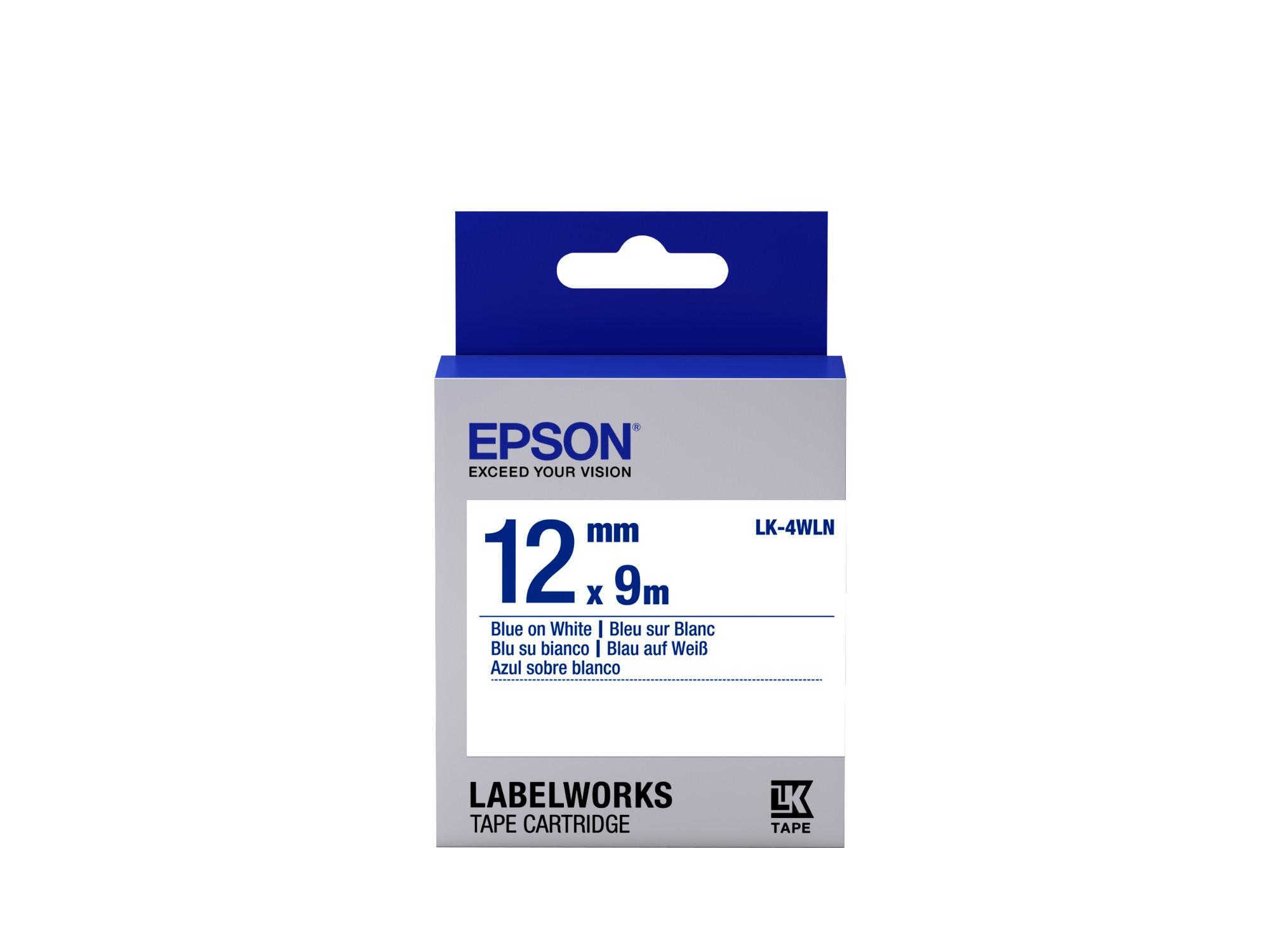 Epson Cinta estándar - LK-4WLN estándar azul/blanca 12/9