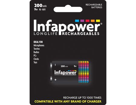 Infapower 9v 200mAh Rechargeable battery Nickel-Metal Hydride (NiMH)