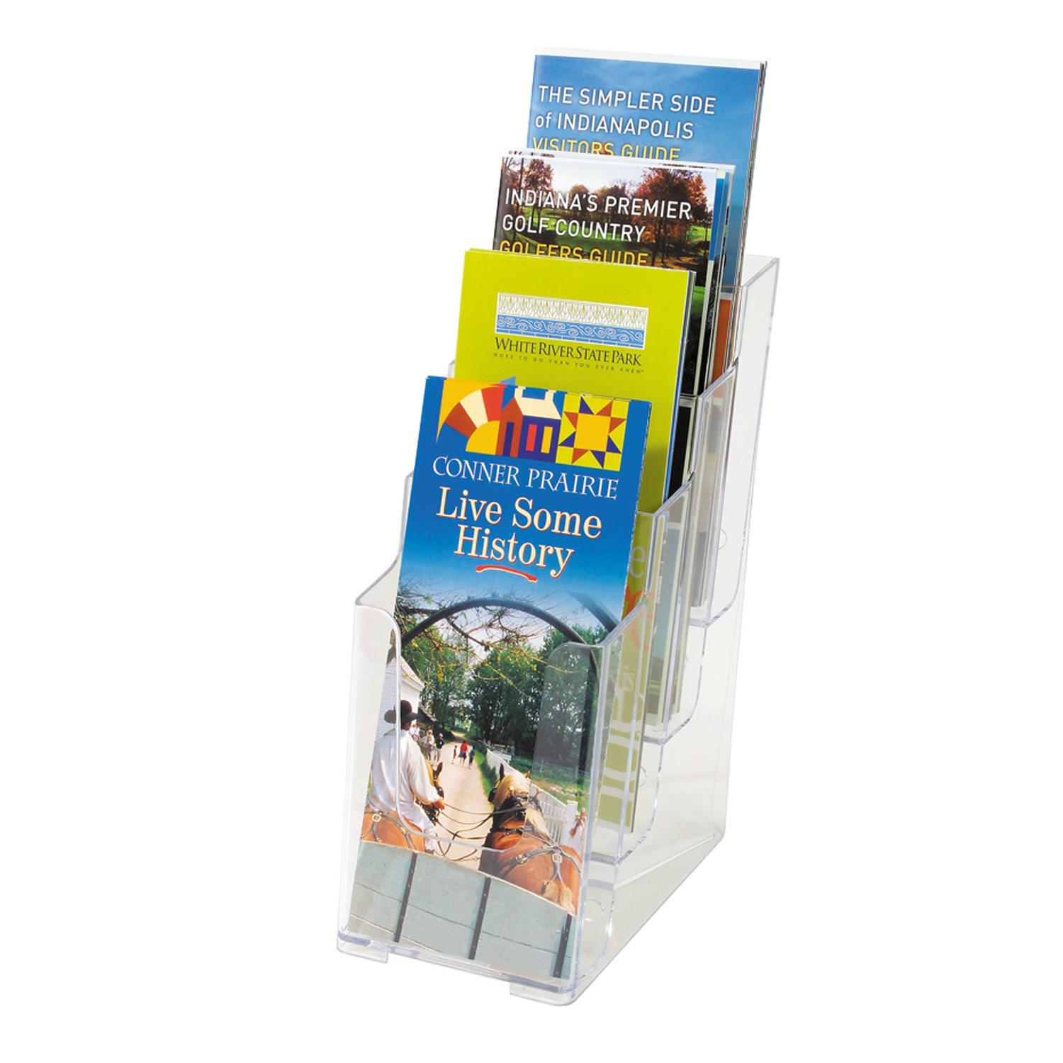 Deflecto 77701 Literature Rack 4 Shelves Transparent