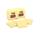 Post-It Super Sticky Notes, 3 in x 3 in, Canary Yellow, 12 Pads/Pack self-adhesive note paper