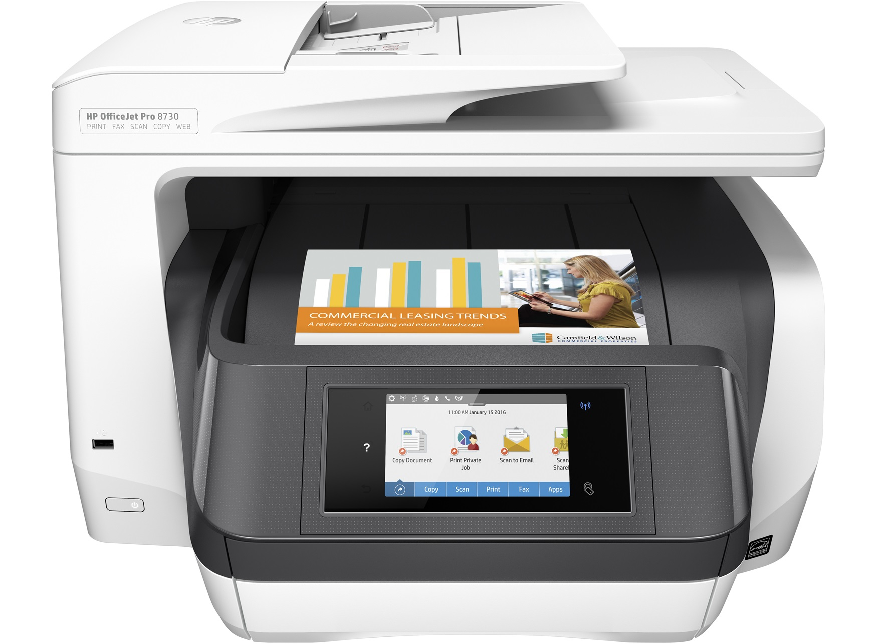 OfficeJet Pro 8730 - Color All-in-One Printer - Inkjet - A4 - USB / Ethernet / Wi-Fi