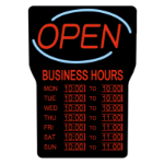 ROYAL SOVEREIGN INTERNATIONAL LED OPEN SIGN W/ BUSINESS HOURS