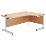 Jemini White/Silver 1600mm Right Hand Cantilever Radial Desk KF839106