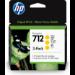 HP 712 Original Amarillo 3 pieza(s) Rendimiento estándar