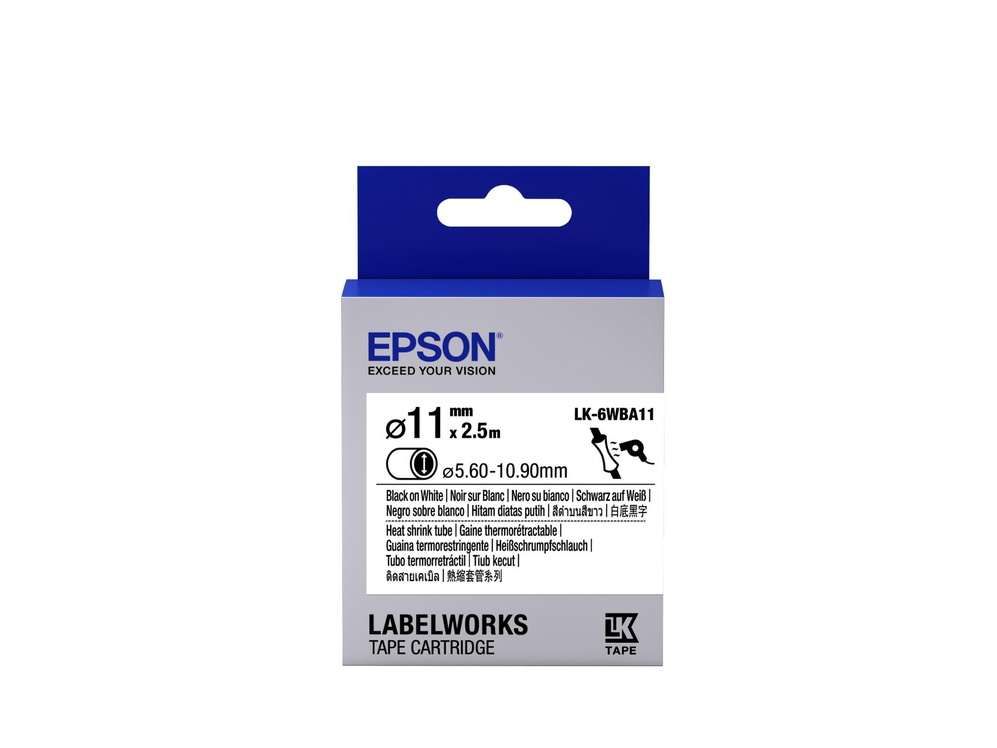 Epson Label Cartridge Heat Shrink Tube (HST) LK-6WBA11, zwart/wit D11 mm (2,5 m)