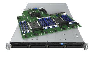 Intel R1304WFTYS C624 Socket P 1U Black, Silver server barebone