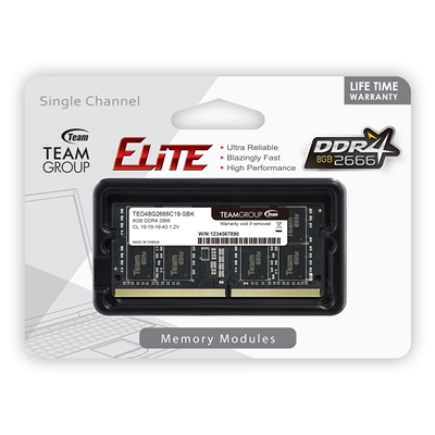 Team Group Elite 8GB No Heatsink (1 x 8GB) DDR4 2666MHz SODIMM System Memory