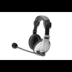 ASSMANN Electronic 83130 auricular con micrófono Binaural Diadema Negro, Blanco