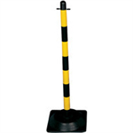 VFM Yellow/Black Free standing Post With Square Rubber Base 328336