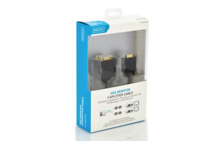 Digitus 0.2m, VGA/2xVGA VGA cable VGA (D-Sub) 2 x VGA (D-Sub) Black