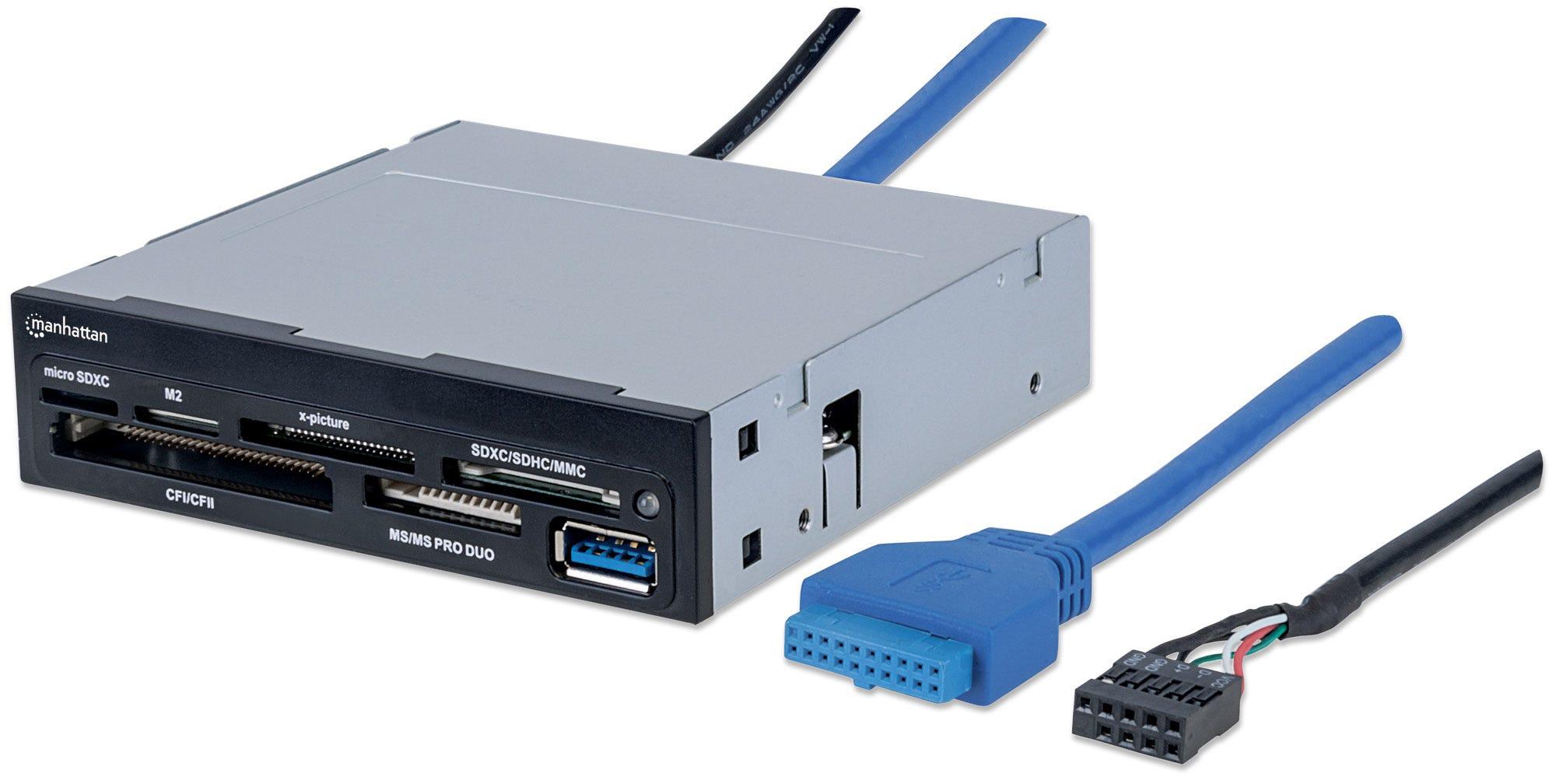 "Manhattan 3.5"" Bay Mount Expansion Panel, 1x USB-A port, Multi-Card Reader/Writer 48-in-1, 5 Gbps (USB 3.2 Gen1 aka USB 3.0), SuperSpeed USB, Black, Three Year Warranty, Box"