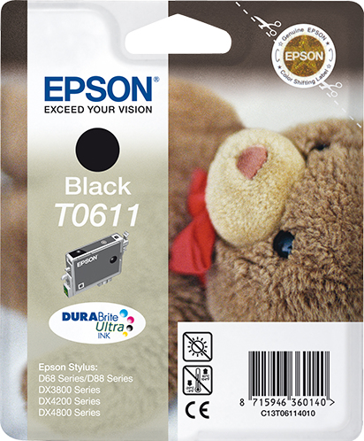Epson C13T06114010 (T0611) Ink cartridge black, 250 pages, 8ml