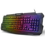Dynamode Compoint Tri-colour Illuminated LED Backlight Full Size USB Gaming Keyboard, UK Layout, Black (CP-K8