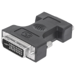 Manhattan DVI-I to VGA HD15 Adapter, Dual Link, Male to Female, Digital Video Adapter, Shielded, Polybag