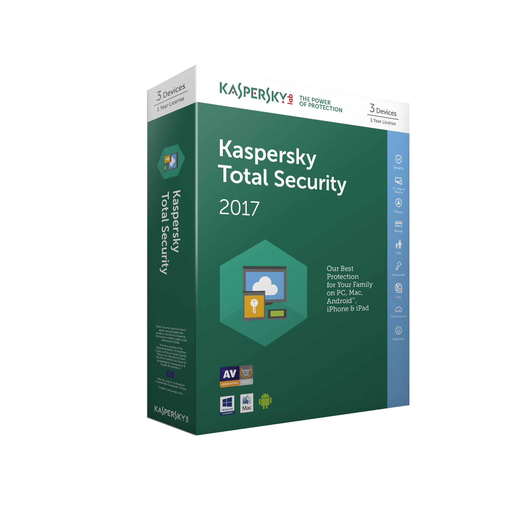 Kaspersky Lab Kaspersky Total Security 2017 - 3 Devices 1 Year (Standard Packaging)
