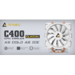 Antec C400 GLACIAL White Air CPU Cooler 12CM PWM 77 CFM Fan, 8mm Copper Base. 115X, 2011, 2066,, AM3, AM3+