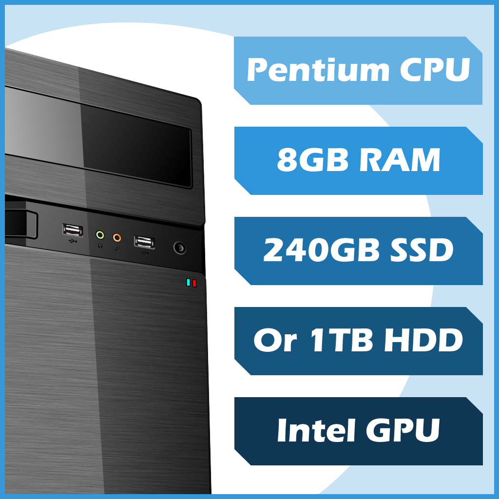 Custom Built Business 4 Me Custom PC - Pentium, 8GB, 120GB SSD, Win10