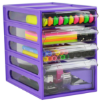 ITALPLAST OFFICE ORGANISER ITALPLAST 4 DRAWER GRAPE(EACH)