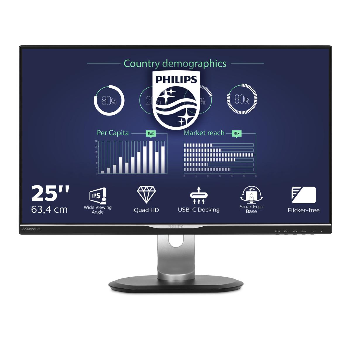 Philips B Line LCD monitor with USB-C Dock 258B6QUEB/00