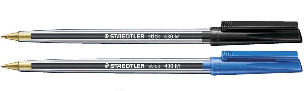 Staedtler Medium 0.5mm Blue & Black Stick Pens Mixed PK100