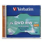 Verbatim DVD-RW 4.7GB 2X Branded 1pk Jewel Case 4.7GB DVD-RW 1pcs