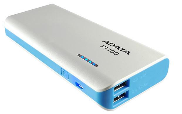 Pt100 - Power Bank - 10000 Mah - 2.1 A - 2 Output Connectors (USB) - White