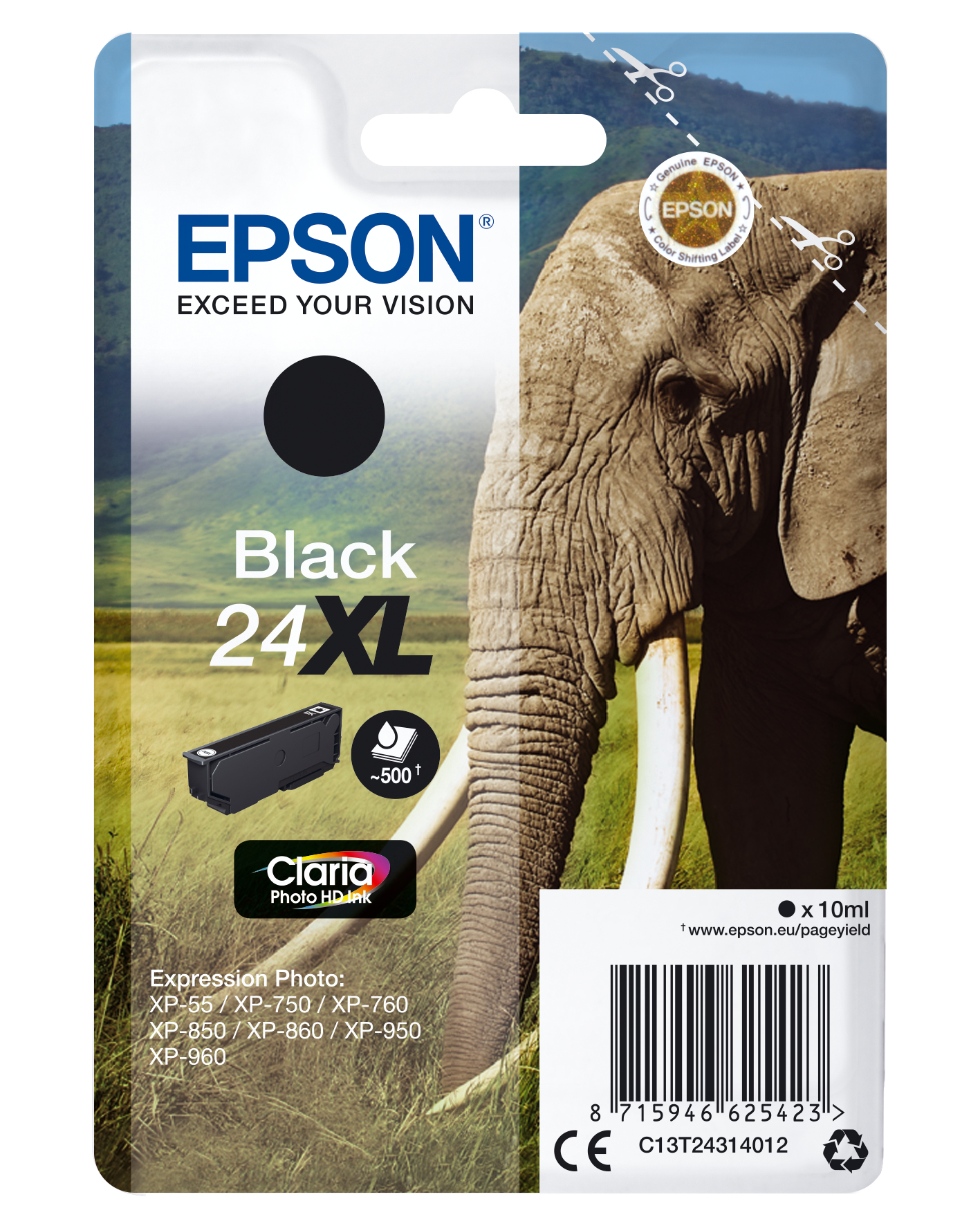 Epson Elephant Singlepack Black 24XL Claria Photo HD Ink