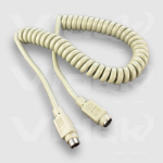 Videk 6 Pin Mini Din M - F Coiled PS2 Extension Cable 1Mtr 1m PS/2 cable