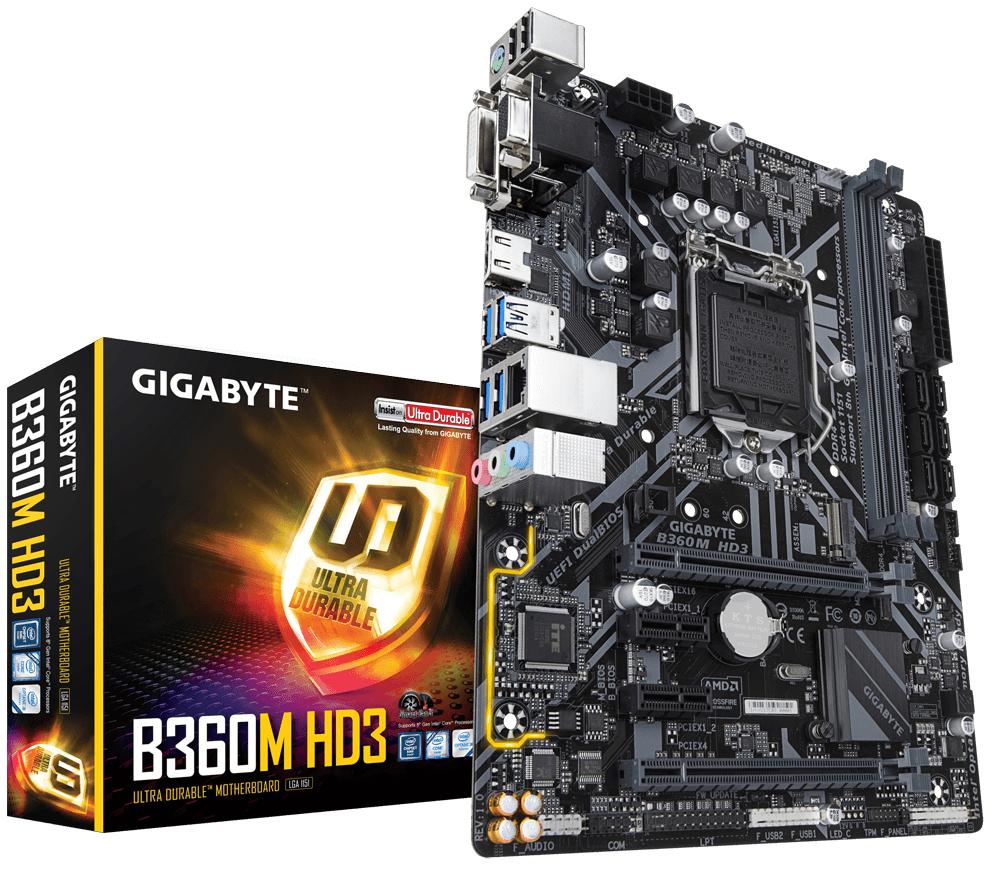 Gigabyte B360M HD3 Intel B360 Express LGA 1151 (Socket H4) Micro ATX motherboard