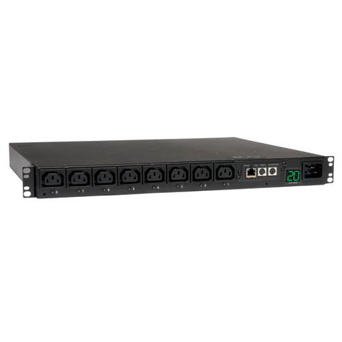 Tripp Lite 3.2-3.8kW Single-Phase Switched PDU, 200-240V Outlets (8 C13), C20 / L6-20P input, 2.59 m Cord, 1U Rack-Mount