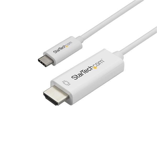 StarTech.com Cable Adaptador de 3m USB-C a HDMI 4K 60Hz - Blanco - Cable USB Tipo C a HDMI - Cable Conversor de Vídeo USBC