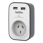 Belkin SurgeCube Grey, White 1 AC outlet(s)
