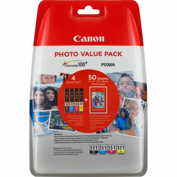 Canon 6508B005 (551) Ink cartridge multi pack, 344 pages, 7ml, Pack qty 4