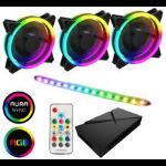 GAMEMAX ARGB Kit 3x 120mm GameMax Velocity Fans with ARGB Lighting Hub + Viper LED Strip 3 Fan Bundle