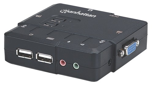 Manhattan 2-Port Compact KVM Switch, USB, with Cables and Audio Support