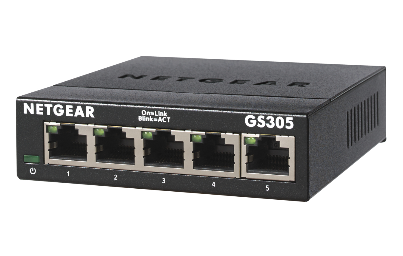 Netgear GS305-300PES switch No administrado L2 Gigabit Ethernet (10/100/1000) Negro